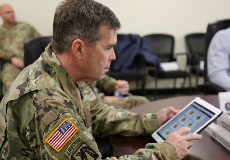 Army G1, Lt. Gen. Thomas Seamands, previewing the Integrated Personnel and Pay System - Army (IPPS-A) app while visiting Pa. Army National Guard Soldiers at Ft. Indiantown Gap, Pa. on Feb. 7, 2019.