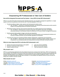 Empowering HR Professionals to Take Care of Soldiers Factsheet
