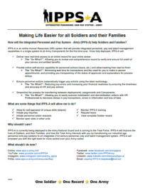 Making Life Easier for Soldiers and Families Factsheet