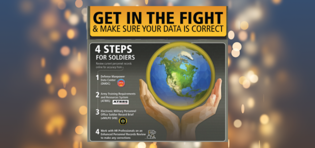 Graphic: Get in the fight and make sure your data is correct. Four steps for Soldiers: Review current personnel records online for accuracy from 1) DMDC, 2) ATRRS, 3) eMILPO, 4) Work with HR Professionals on an Enhanced Personnel Records Review to make any corrections.
