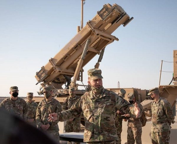 PHOTO: Gen. James C. McConville, chief of staff of the Army, speaks to deployed Soldiers of 11th Air Defense Artillery Brigade during a visit to Al Udeid Airbase, Qatar, Dec. 17, 2020. (Staff Sgt. Mariah Jones/Army)