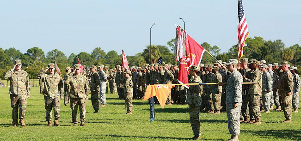 Lt. Col. Jayson Putnam (left), incoming commander of 9th Brigade Engineer Battalion, 2nd Infantry Brigade Combat Team, 3rd Infantry Division, Col. James Dooghan (center), commander of 2nd IBCT, and Lt. Col. Michael Biankowski, outgoing commander of 9th BEB, inspect the battalion formation during a change of command ceremony on Cottrell field at Fort Stewart Ga., Aug. 18, 2016. Biankowski commanded 9th BEB for twenty one months. (U.S. Army photo by 1st Lt. Victoria Connel/ Released)
