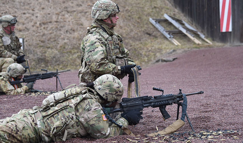 U.S. Soldiers with the 3rd Battalion, 501st Aviation Regiment (TF Apocalypse), from Fort Bliss Texas, conduct M240 Machine Gun weapons training at Oberdachstetten Range Complex, Oberdachstetten, Germany 8th Feb. 2017. During the training the Soldiers fired the M240 Machine Guns from 10 m (32.8') distance using the iron sight. (U.S. Army photo by Visual Information Specialist Eugen Warkentin/released)